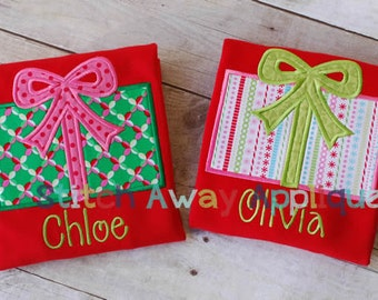 Christmas Gift, Christmas Present Machine Embroidery Applique Design