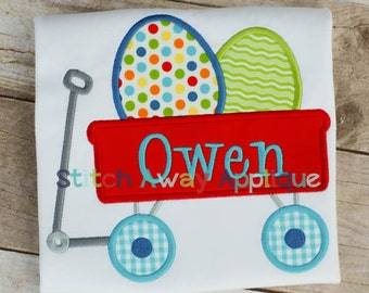 Easter Egg Wagon Machine Embroidery Applique Design