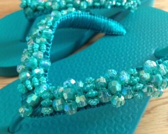 Hand-beaded Flip-flop Sandal in Emerald Green (Size 6)