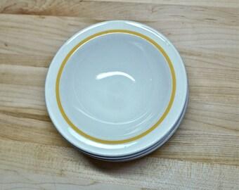 Vintage Yellow Rimed Soup Bowls, Set of 6