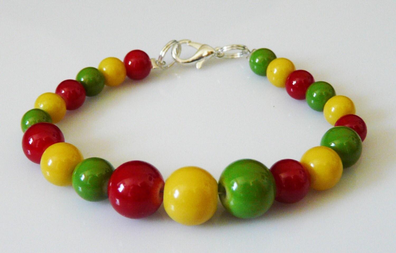 colorful rasta beaded bracelet