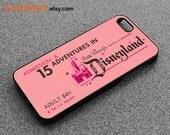 iphone 5 case, Disney ticket iphone case, cartoon iphone case, disney case, iPhone case, iphone silicone case, rubber case, Pink iphone case
