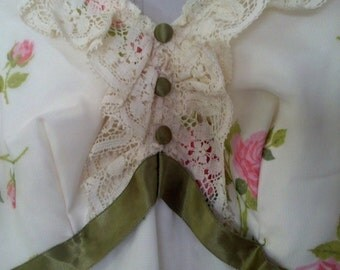 Vintage floral yellow,pink,and green spring dress.  circa 1940s or 1960s. Union Made