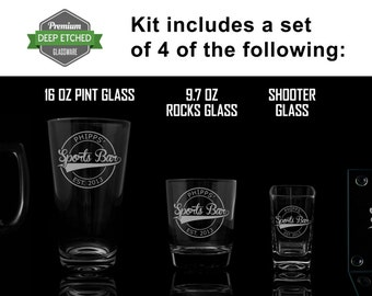 Custom Home Bar Kit, Includes Etched Mugs, shooter glasses, rocks glasses, coasters, pint glasses all Personalized with Sports logo to match