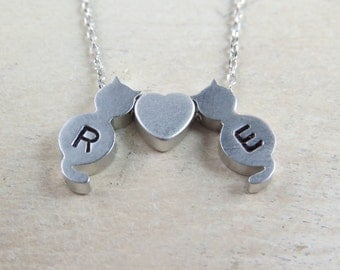 Personalized cat necklace, pet lover necklace, kitten necklace, hand stamped cat necklace, initial necklace, pet memorial necklace
