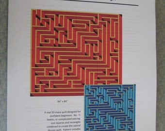 3D Maze quilt pattern.  Detailed, Full Color, 27 pages.