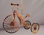 1987 Danbury Collection Gold Plated Tricycle Christmas Ornament