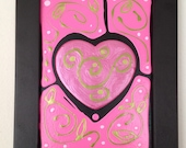 PINK HEART w DOT an original acrylic assemblage painting
