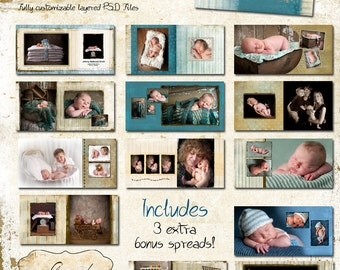 10x10 Baby Album template for photographers - Little Boy Blue Album