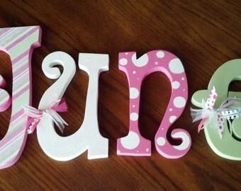 Hanging nursery letters, nursery letters, baby girl nursery letters, pink, white, green, nursery decor, nursery wall letters