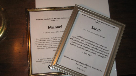 Framed Biblical Name Plaques