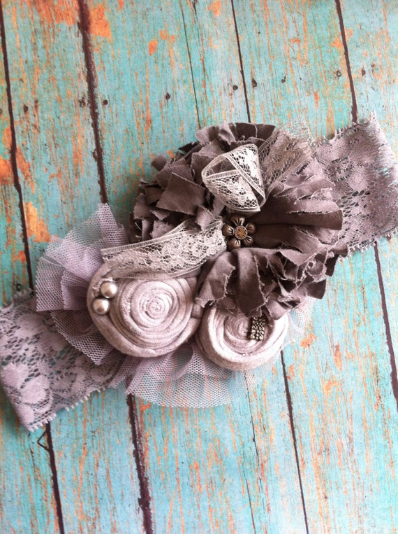 Girls Headband/ Gray Shabby Chic/ Rolled Rosettes/ Womens Brooch/ Baby Headband/ Womens Headband/ Girls Hairclip/ Girls Headband/ Brooch