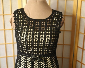 Hand Crocheted Black Dress