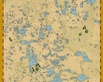 Lake Map of Becker & Otter Tail County Minnesota Lake Print