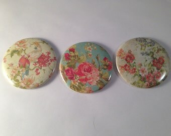 Vintage Looking Floral Pocket Mirrors