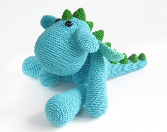 Free Knitting Pattern Dragon Toy : PATTERN: Dragon - Crochet pattern - Dinosaur - Stuffed animal - Amigurumi tut...