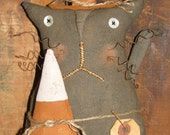 "Primitive Black Cat Witch With Candy Corn - 12""  Ready to Ship"