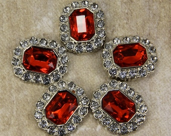 Red Rhinestone Buttons - 10 Acrylic Rhinestone Buttons Surrounded by Clear Rhinestones - 25mm