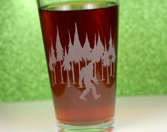 Personalized Bigfoot in the Trees Etched Sandblasted Pint Glass, bigfoot gift , sasquatch, yeti , woods , nature , custom yeti