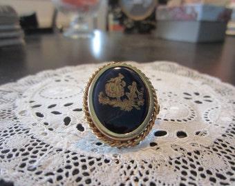Brooch Limoges porcelain oven blue