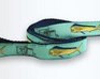 Guy Harvey Seafoam green bull dolphin dog leash