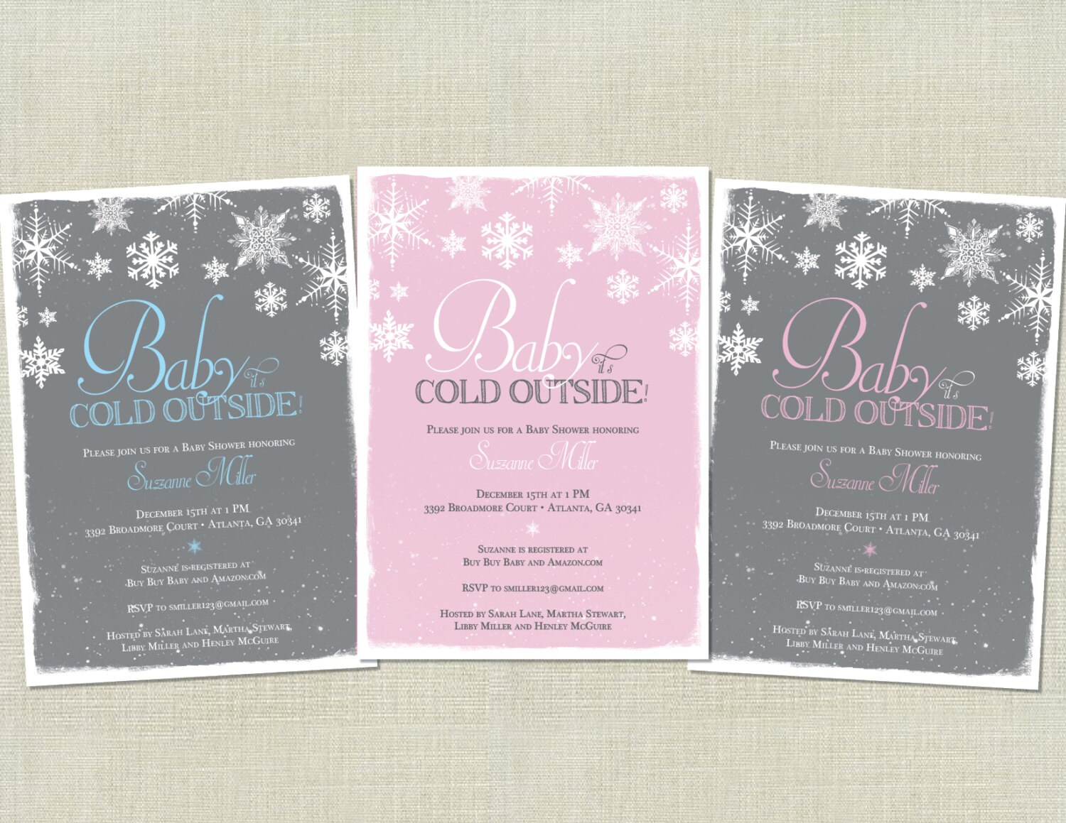 baby it 39 s cold outside baby shower invitation snowflakes
