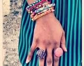 Tribal Fabric Bead Bracelet Set