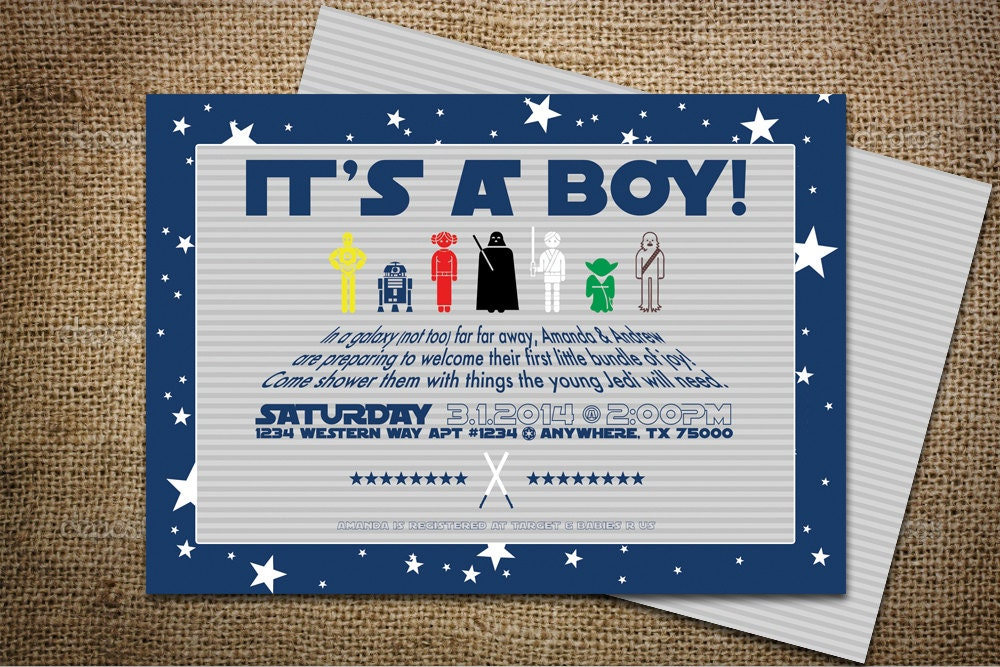 diy star wars themed baby shower invitation