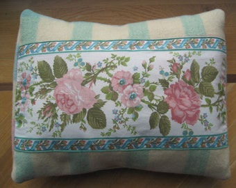 Upcycled cushion made with wool blanket and briar rose pillow/ throw cushion