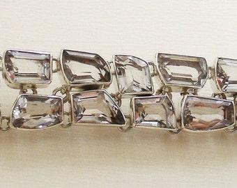 Beautiful Silver BRACELET with 17 genuine CLEAR QUARTZ gemstones