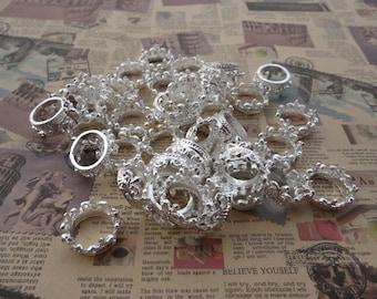 set of 20--shiny silver plated metal crown charm--18x8mm--metal pendant-metal charm--MPC3203-20