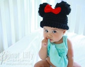 Minnie Mouse / Girl Mouse Ears Beanie - Baby Girl, Toddler, Newborn Photography Prop Crochet Hat Costume