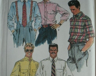 Men's Shirts With Variations in Chest Size 34-36-38-40 Simplicity Pattern 9592 Vintage 1989