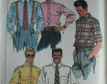 Men's Shirts With Variations in Chest Size 42, 44, 46, 48 Simplicity Pattern 9592 Vintage 1989