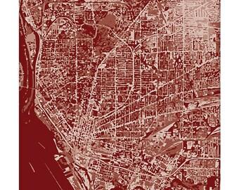 Buffalo NY Cityscape Art Print / New York Map Abstract Wall Art / 8x10 / Choose your Color