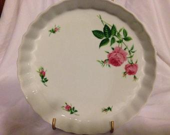 "Vintage Pink Rose Quiche Dish by Christineholm 10"""