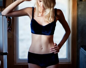 International Set- Blue Velvet Bralette and Hip Hugger Panty