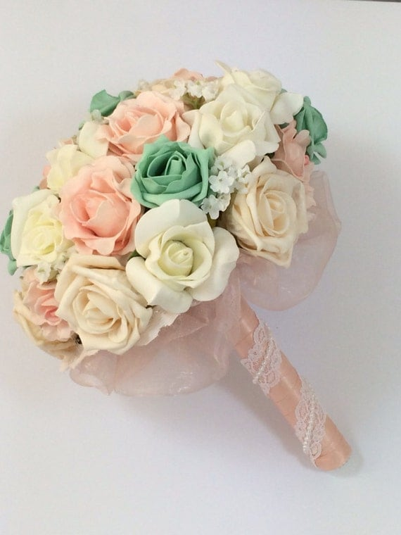 Wedding bouquet shabby chic, rustic, ivory, mint and peach with and baby's breath and lace made to order