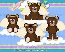 Angel Bears Dark Clip Art Set - Clipart scrapbooking set digital download