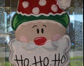 Santa Claus Burlap Door Hanging