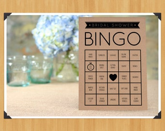 Printable Bridal Shower Bingo Game, 60 Cards in Set, DIY, Instant Download, Printable PDF, Black and White