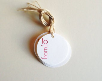 RED Lettering Favor Gift Tags (10ct)