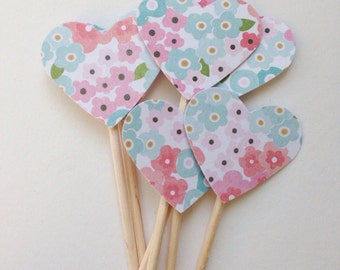 CORAL PINK & Blue Vintage FLORAL Party Pick Cupcake Toppers (12ct)