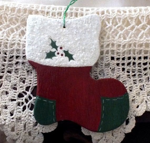 Old fashioned hand painted wooden christmas stocking ornament for Fashion christmas stockings