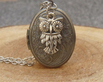 Silver Owl Locket Necklace Victorian Jewelry Gift Vintage Style