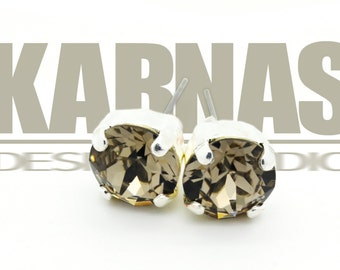 GREIGE 8mm Chaton Crystal Stud or Post Earrings Made With Swarovski Elements *Pick Your Finish *Karnas Design Studio *Free Shipping