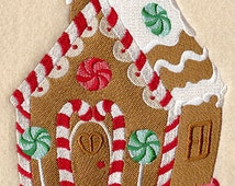 Gingerbread house christmas - Embroidered hand towel PAIR for kitchen / bath
