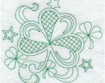 Embroidered T-shirt t tee shirt - St. Patricks day Shamrock & Stars - Womens(regular or Plus size) Tshirt S M L XL 2X 3X 4x 5x