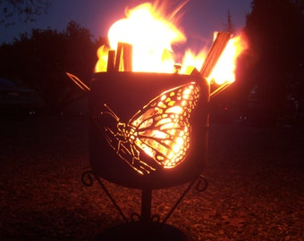 Monarch Butterfly compact fire pit a mostly salvaged steel