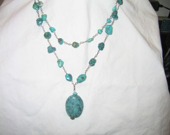 Double strand turquois nugget necklace